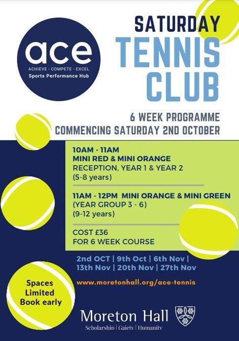 Saturday Tennis Club starts Saturday 2nd October at Moreton Hall.