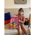 Edie loved feeling the mystery objects in the bag