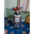 David made a robot costume using the recycling