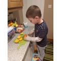 David helping to cook