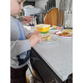 Connor helped his mummy make lunch today!