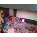 Bethany chose her bedding and helped to make her bed