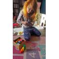 Elyse used a blocks to make the numberblocks!