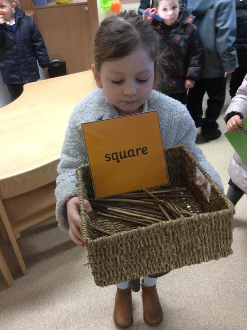 Elise found a square basket.