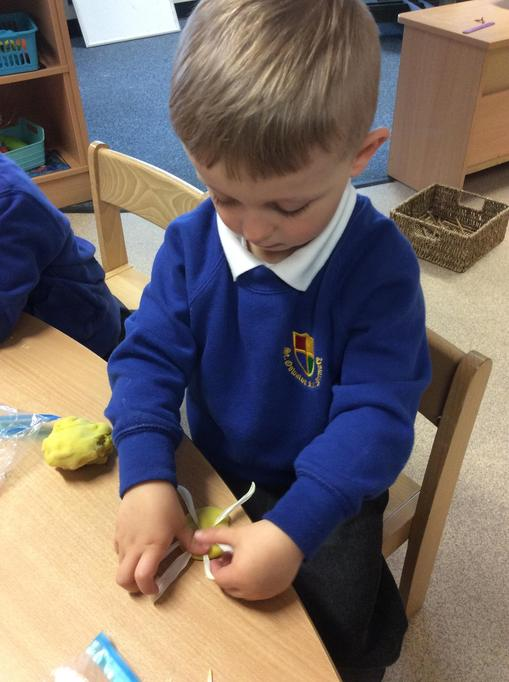 Freddie made a flower using playdough and petals.