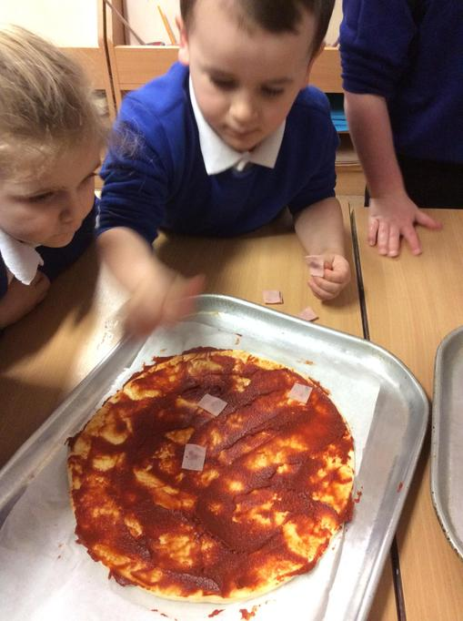 Hugo put the ham on the pizza.