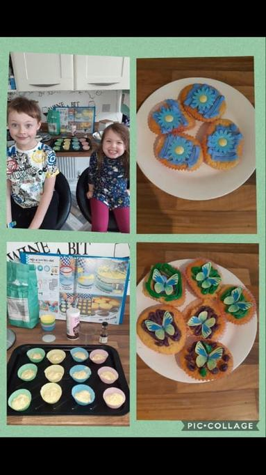 Scarlett and Noah's flower and butterfly biscuits
