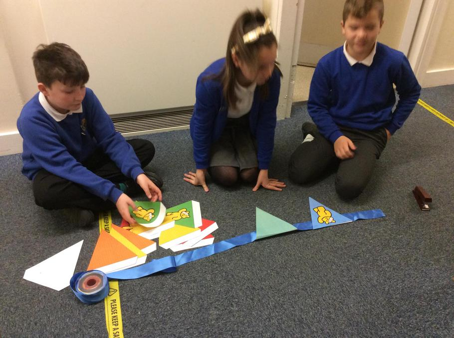 Year 5 and 6 making bunting