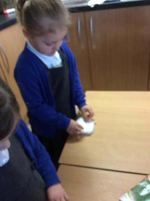 We put cotton wool on our lid.