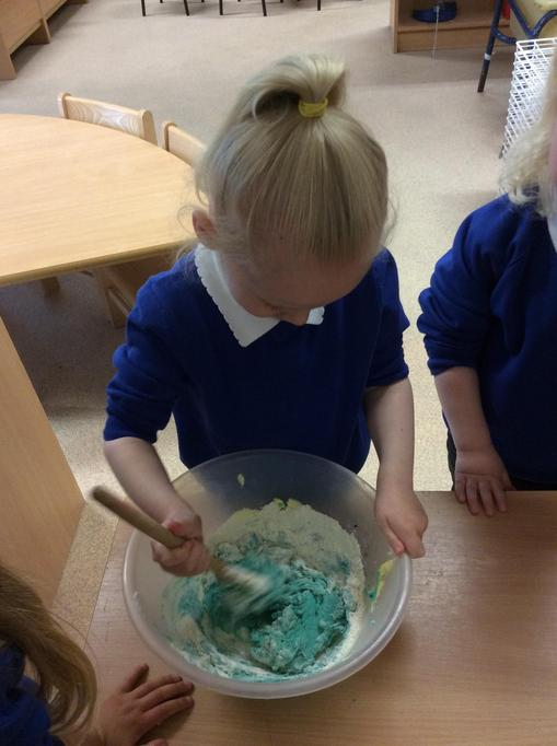 We added blue food colouring to make blue biscuits.