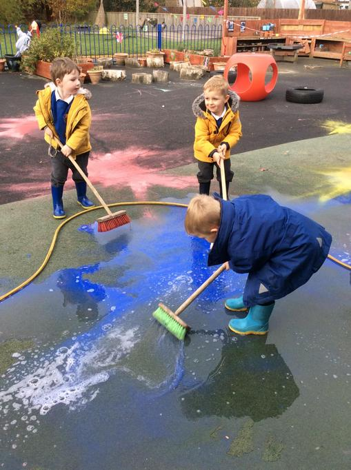 We made different colours by pushing the water together.