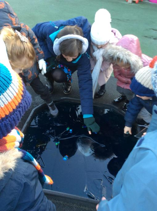 Our toys were stuck inside the ice!