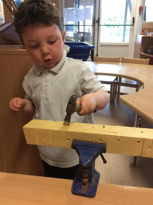 Jacob loved hammering in the nails.