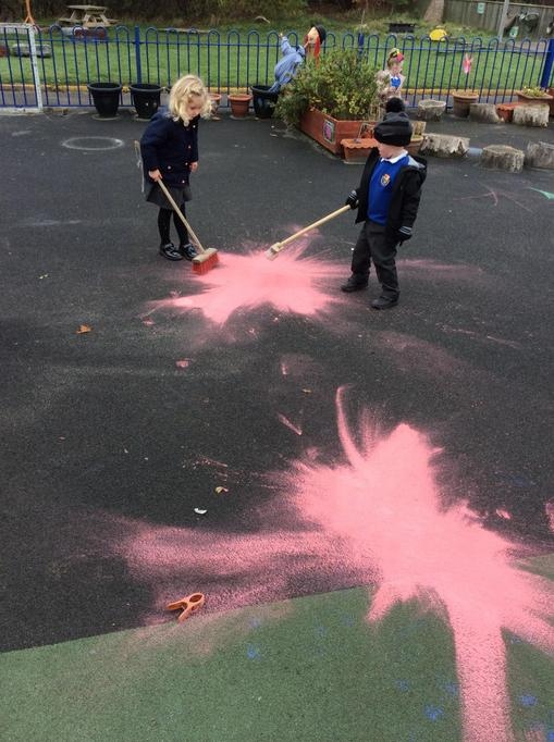 Zara and Alec swept the red paint