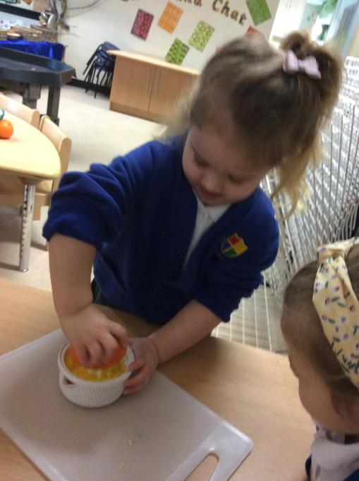 Ava was great at squeezing the juice out.