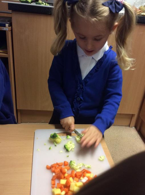 Olivia was great at chopping the vegetables