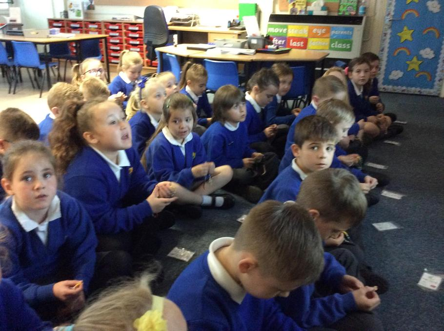 Year 2 praying the Rosary during October.