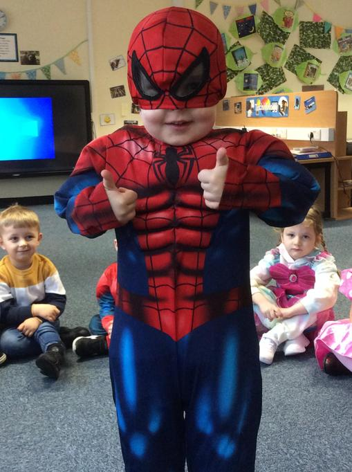 Alec gave a big thumbs up to his Spiderman costume.