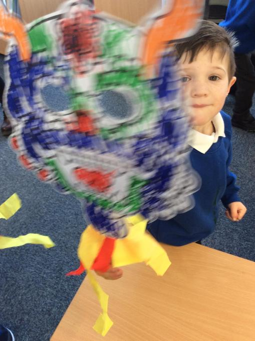 We made dragon masks.