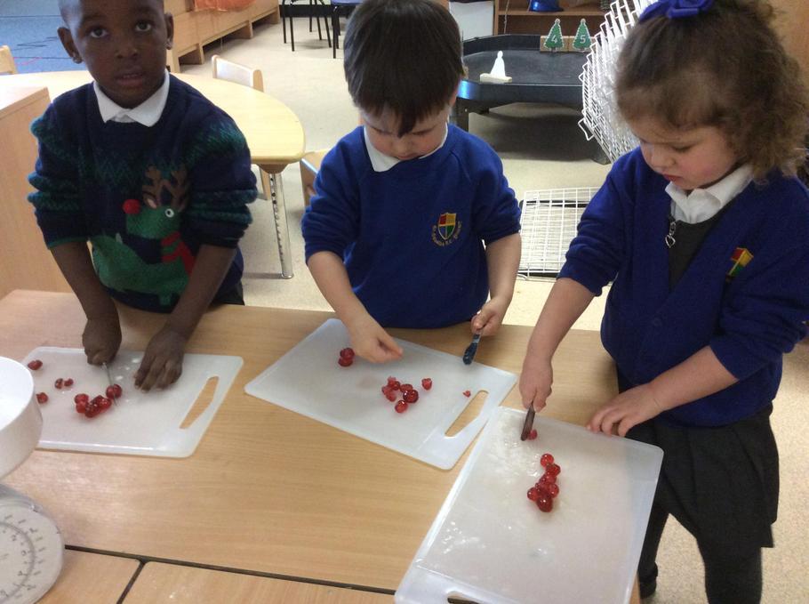 Chopping the cherries.