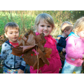 We collected leaves to make a leaf monster.