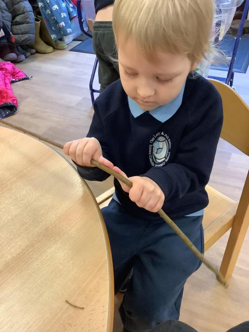 Using our fine motor skills to bend willow to make nests.