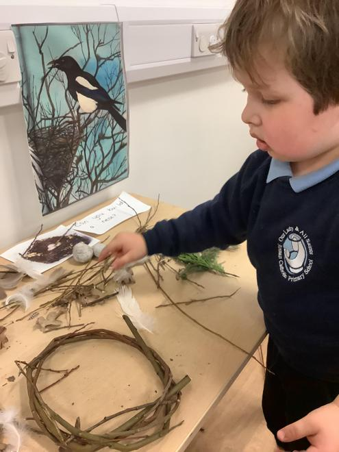 Using our previous learning to make a bird's nest.