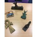 Egyptian artefacts: Anubis, Isis, Ankh, Udjat eye