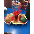 1st Place- Volcano themed natural disasters eggs