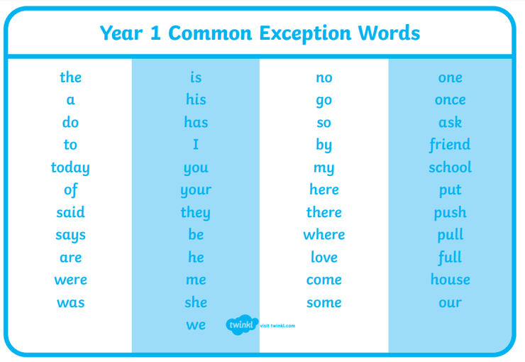 Here is a list of words that children should be able to read & spell by the end of Year 1.