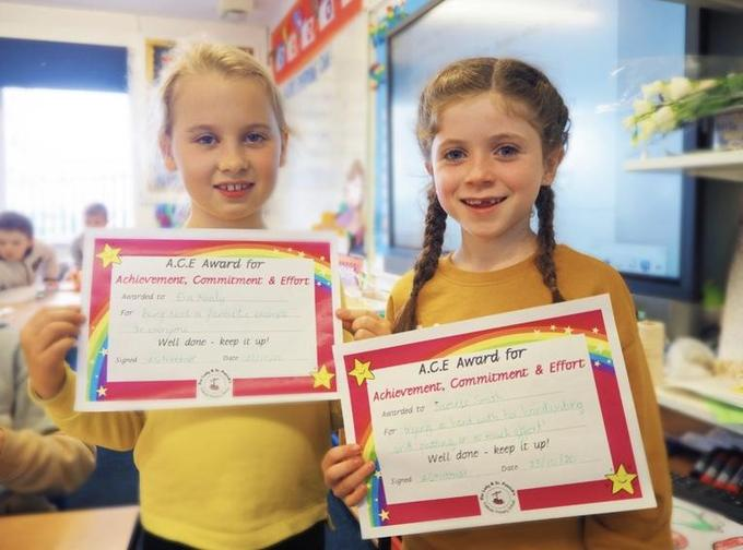 'ACE' Certificates are awarded weekly, in recognition of Achievement, Commitment & Effort