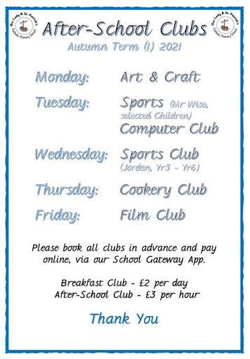 After-School Clubs Autumn (1) 2021