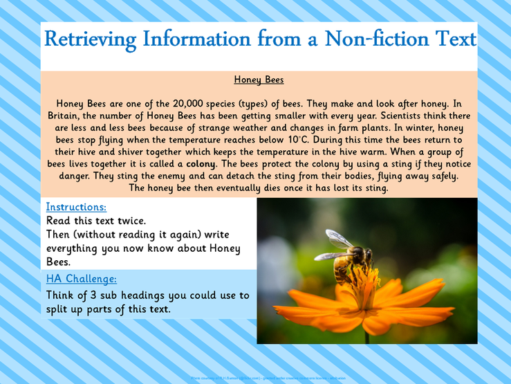 Retrieving Information From a Non-Fiction Text.