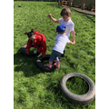 Working in teams to complete the Tyre Challenge!