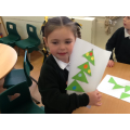 Making Christmas pictures with shapes.