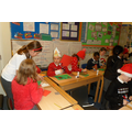Children starting their Christmas card designs.