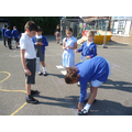 Creating our own number lines on the playground.