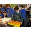 The children creating Blitz landscapes.