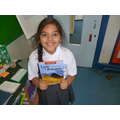 Mia with an Ancient Egypt story book!