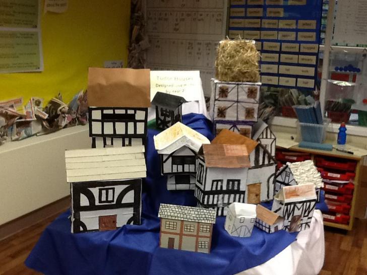 A collection of homemade Tudor houses.