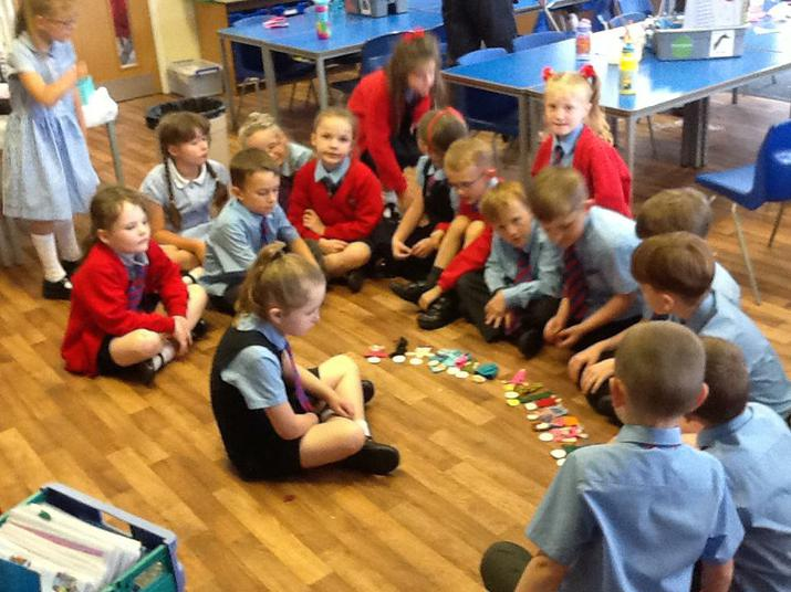 Making our class community with lolly pop people