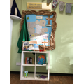 Our prayer area has lots of items to help us live, love and learn together.