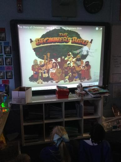 We watched the story of the Nativity.
