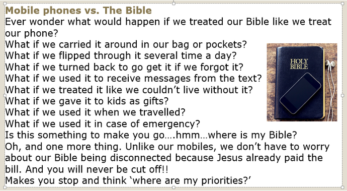 Mobile phones vs The Bible...What bill did Jesus pay?