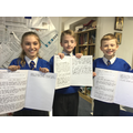 Year 5 writers showing me their latest work!
