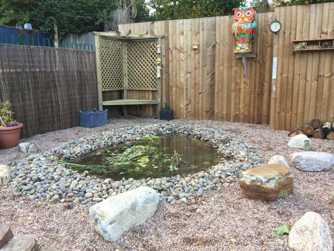 Wildlife pond (with Owlvis watching over!)