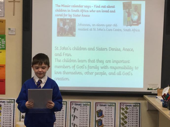 I read the children's Mission prayer...