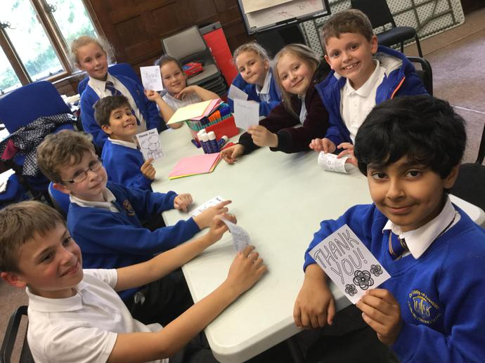 Making our thank you cards!