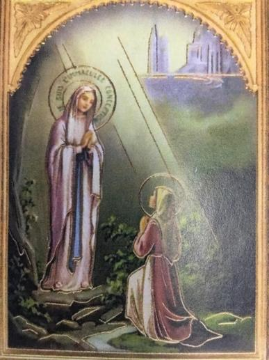 We think of Our Lady appearing to Bernadette in Lourdes.