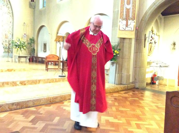 Finally the red chasuble...